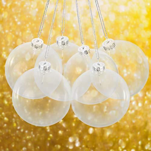 Merkisa 6X Christbaumkugeln aus klarem Glas befüllbare Ornamente für Weihnachten Party Geburtstag Hochzeit Dekoration, Glas, farblos, 8cm