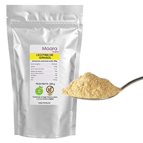 Lecitina de girasol pura en polvo E322 200g - No GMO - Ayuda a mejorar la memoria y la salud de la piel - Gran sustituto de la lecitina de soja para cocinar