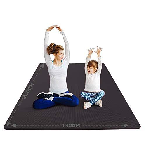 YUREN Groß Yogamatte Extra Weit 2X1,3 M Gymnastikmatte Übungsmatten für Partner Yoga 10mm Weiche Dicke NBR-Schaum Stretch Fitness Heimtrainingsmatte Mit Gurt - Schwarz
