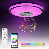 60W LED Deckenleuchte mit Bluetooth Lautsprecher und Fernbedienung APP-Steuerung, 2700-6500 RGB Musik Deckenlampe Ø38cm 5450LM Dimmbare Farbwechsellampe für Kinderzimmer, Schlafzimmer, Wohnzimmer