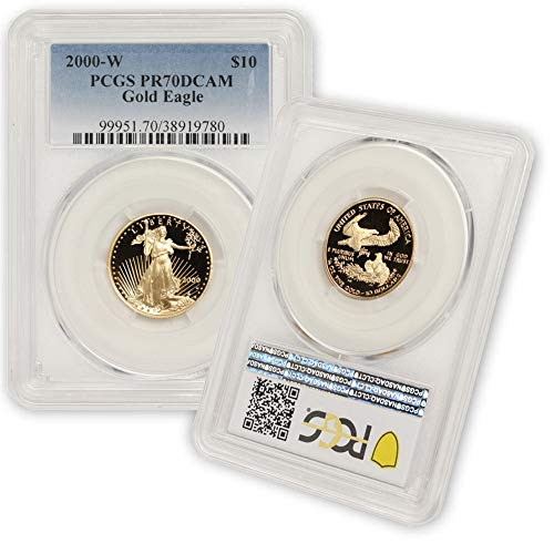 2000 W 1/4 oz Proof Gold American Eagle PR-70 Deep Cameo by CoinFolio $10 PR70DCAM PCGS