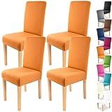 Gräfenstayn 4pcs Fundas para sillas elásticas Charles - respaldos Redondos y angulares - Paquete Benefit - Ajuste bi-elástico con Sello Oeko-Tex Standard 100:'Confianza verificada (Naranja)