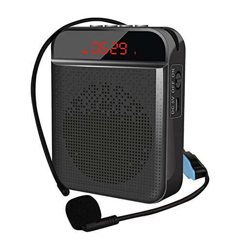Small Voice Amplifier, Wired Headset Microphone Bluetooth Speaker Support USB/TF Card/Aux/MP3, Built-in 3000Mah Rechargeable Battery, for Teachers, Tour Guides,Black