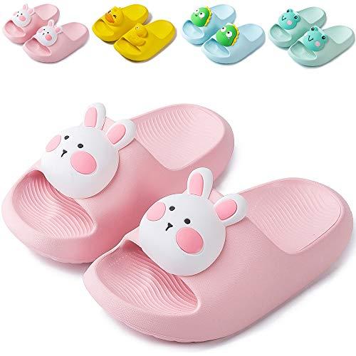 NEUSOP Badelatschen Kinder Dusch Badeschuhe Jungen Mädchen Leicht Sommer Flache Hausschuhe Sandalen für Kleinkinder Anti-rutsch Badesandalen,Pink,23EU/24EU
