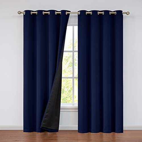 100% Blackout Curtain Set, Thermal Insulated & Energy Efficiency Window Draperies for Guest Room, Full Shading Panels for Shift Worker and Light Sleepers, Navy , 52W x 108L, 2 PCS