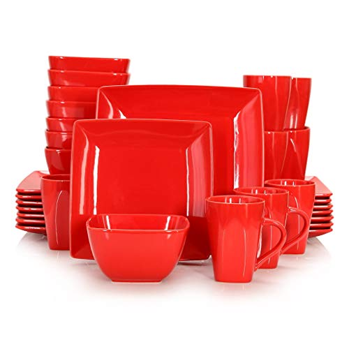 XYZMDJ Conjunto de vajilla Cuadrado de Porcelana de cerámica roja de 16/32/48/48 Piezas con Placa de Cena, Placa de Postre, tazón, Conjunto de Taza de 240 ml (Color : 32-Piece Set)