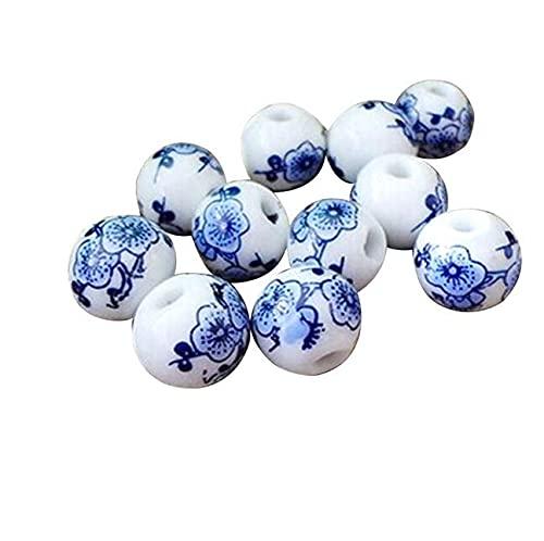 Cuentas de cerámica, aprox. 100 cuentas de porcelana azul y blanco, cuentas de cerámica para pulseras y collares