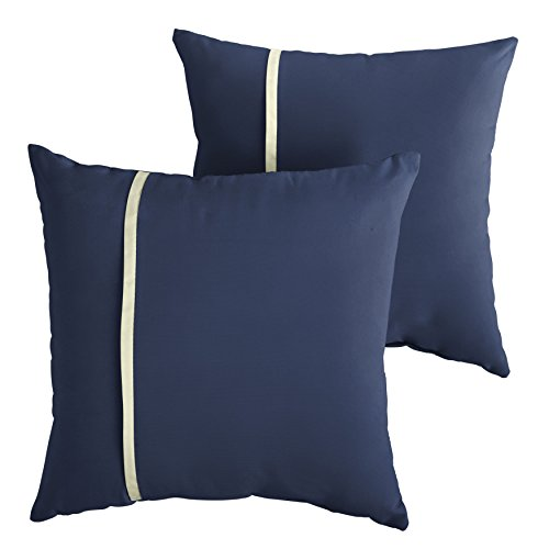 Mozaic Company AMPS112196 Indoor Outdoor Sunbrella Square Pillows, Set of 2, 20 x 20, Canvas Navy Blue & Canvas Natural Ivory
