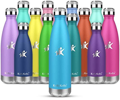 KollyKolla Vakuum Isolierte Edelstahl Trinkflasche, 500ml BPA Frei Wasserflasche Auslaufsicher, Thermosflasche für Sport, Outdoor, Fitness, Kinder, Schule, Kleinkinder, Kindergarten (Blau)