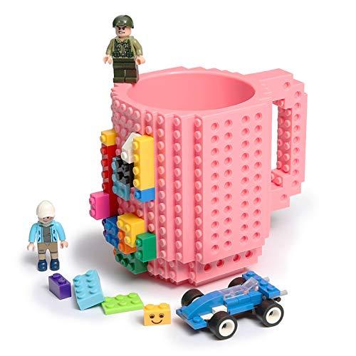 Lumsburry Build-on Bricks Tassen Becher, Kreative DIY Kaffeetasse Baustein Kaffee Tee Trinken Spaß Trinken Geschenk (Rosa)