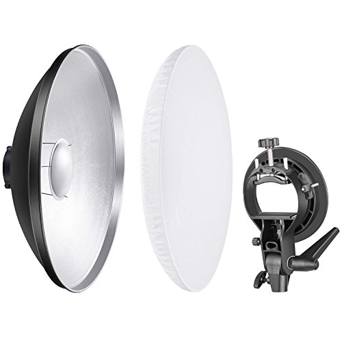 Neewer Photo Studio 16 inches/41 Centimeters Beauty Dish Aluminum Lighting Reflector with White Diffuser and S-Type Flash Speedlite Bracket Bowens Mount for Nikon Canon Sony and (Bracket+Beauty Dish)