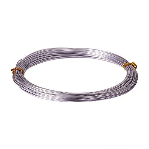 PandaHall 1 Roll 10m Fili di Alluminio Fili Gioielli, Colore Argento, 1mm in Diametro, 10m/ Roll