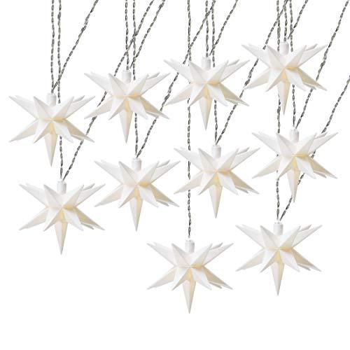 AMARE LED 10er Sternenlichterkette weiß Durchmesser der Sterne je 12 cm, Länge der Kette 6,75 m (zzgl. 5 m Zuleitung), LED Farbe warmweiß, für den Innen- und Außenbereich, Timer