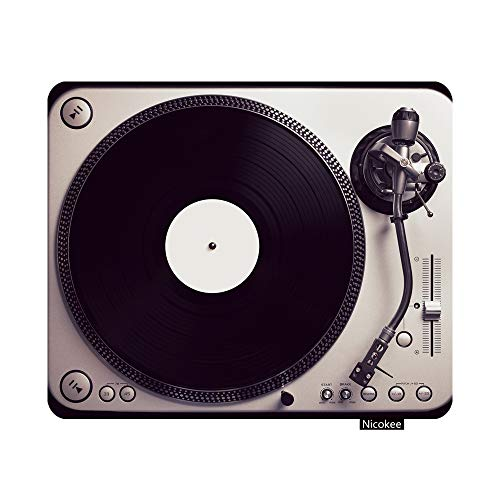 Nicokee Gaming Mouse Pad Old Good Looking Turntable Playing a Track from Black Vinyl Top View Vintage Cross Processing Non-Slip Rubber Mouse Pad for Computers, Laptop, Office 9.5 Inch x 7.9 Inch