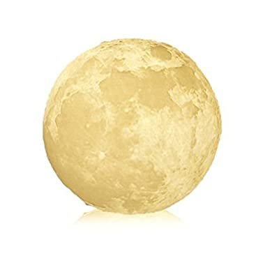 KUNGKEN Rechargeable 3D Printing Moon Lamp Touch Switch Luna Night Light Color And Brightness Adjustable With Wooden Mount 3.15IN