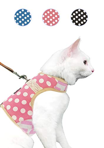 Yizhi Miaow Cat Harness and Leash for Walking Escape Proof Large, Adjustable Cat Walking Vest Harness, Cat Jacket Polka Dot Pink