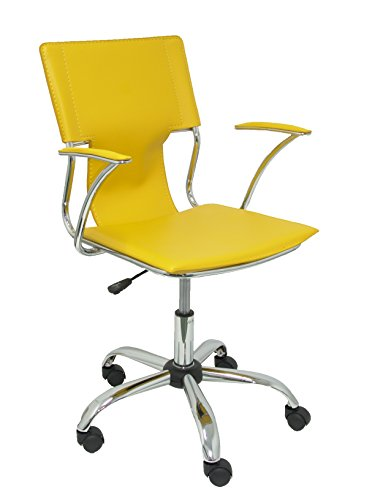 Silla de Oficina amarilla ergonómica con Brazos fijos