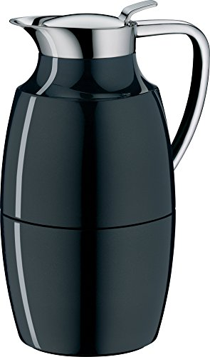 alfi Pallas Glass Vacuum Lacquered Metal Thermal Carafe for Hot and Cold Beverages, 1.0 L, Midnight Black