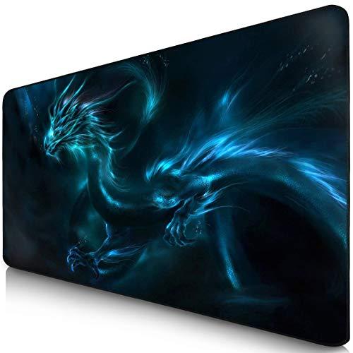 Sidorenko Gaming Mauspad - XXL (900 x 400 x 2mm) Fransenfreie Ränder - Rutschfest -Tischunterlage - spezielle Oberfläche verbessert Geschwindigkeit und Präzision I blau