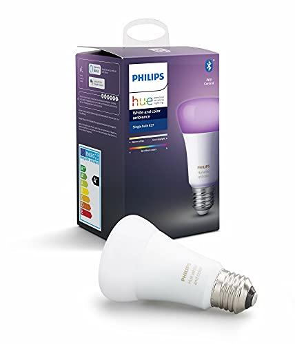 Philips Lighting Hue White and Color Ambiance Lampadina LED Singola Connessa, con Bluetooth, Attacco E27, 9W, 1 Pezzo, Dispositivo Certificato per gli umani