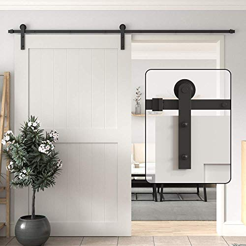 WINSOON 5/6/8/10/12/13/15/16FT Black Straight Design Sliding Roller Barn Single Wood Door Hardware Closet Track Kit Set (10FT Single Door Kit)