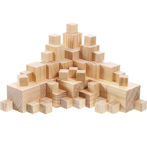 Hicarer Natürliche, massive, unvollendete Holzwürfel, mit denen Sie Babypuzzles, Kunsthandwerk und DIY-Projekte erstellen können 100 Stück