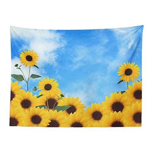 weilaike Schöne Sonnenblumen Landschaft Tapisserie Gartenhaus 150x200 Gänseblümchen Wohnzimmer Dekoration Wandbehang Polyester Vorhang Tischdecke A-200x150cm