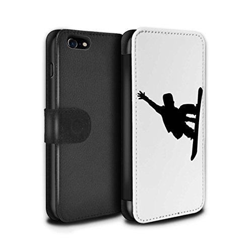 Telefoonhoesje Portemonnee voor Apple iPhone SE 2020 Skiën/Snowboarden Snowboard/Stunt Ontwerp Flip Faux PU Lederen Cover Magnetische Sluiting Card Slots