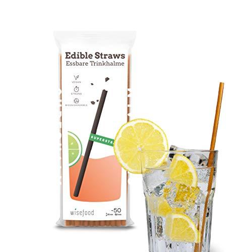 Wisefood - Essbarer Strohhalm - Trinkhalm als Alternative zu Glasstrohhalme Edelstahlstrohhalm - 25cm lang Ø 8mm 50 Stück - braun