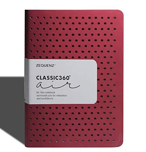 Zequenz Classic 360 Air, Softcover-Notizbuch, weich gebundenes Tagebuch, groß, Rot, 14,5 x 21 cm, 200 Blatt/400 Seiten, Punkt-Rastermuster, Premium-Papier