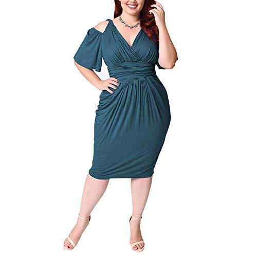 GMZVV Rok Vrouwen Plus Size 4XL 5XL 6XL Feestjurken Zomer Koude Schouder Elegante Schede Jurk Wit Rood Blauw Zwart Strand Tuniek Jurken Big L Blauw