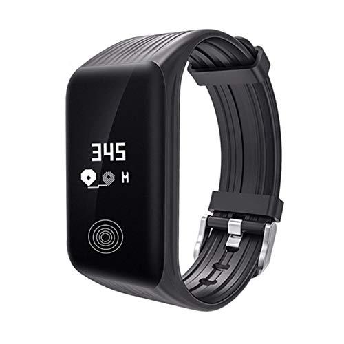 CloverGorge Pulsera Inteligente Reloj Inteligente Reloj de Pulsera Inteligente con Frecuencia Cardíaca Resistente Al Agua K1, Negro/Reloj Longitud Total: 248 Mm