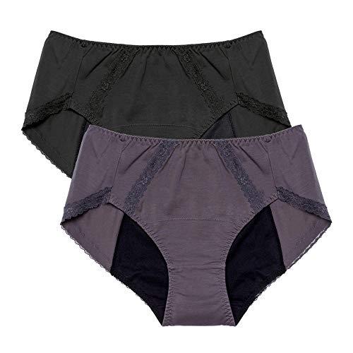 Neione Mujer Bragas Menstruales de Algodón Braguitas para Mentruación Periodo Regla Pack de 2 Negro Gris L