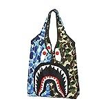 Bolsa de compras reutilizable con diseño de camuflaje y tiburón, bolsa de compras ligera, bolsa de gran capacidad