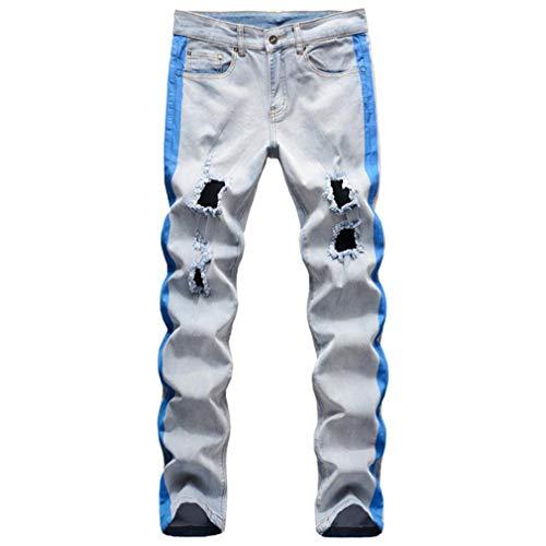 Woovitpl Líneas de Rayas de Mezclilla Estirada de los Hombres Líneas de Rayas con Orificios Impresos apenados Delgados Pantalones Rectos Pantalones Azul 31