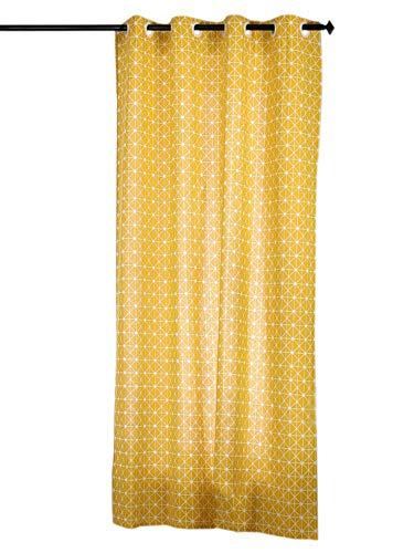 PICTURESQUE 1 Stück Vorhang Gelb Geometrischer Muster Gardine für Wohnzimmer Schlafzimmer Dekoschal Gaze...