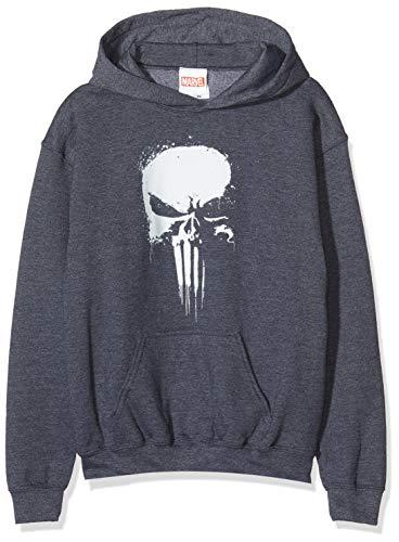 Marvel Jungen Knights Paintspray Skull, Grau (Dark Heather Grey Dkhgry) 9-10 Jahre (Herstellergröße: 9-11y)-Kapuzenpullover