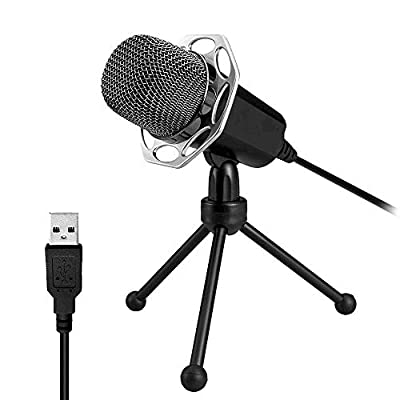USB Microphone for Computer,XIAOKOA Plug and Play PC Microphone for Home Studio Cardioid,Condenser Microphone with Detachable Tripod Stand and Foam Mic Windscreen for PC/Laptop/Desktop/Notebook