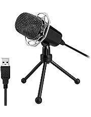 XIAOKOA Micrófono de PC,Micrófono USB para PC,Plug & Play Micrófono Compatible con Windows / Mac / PS4,para Youtube, Podcasts, Skype, Grabaciones, Juegos