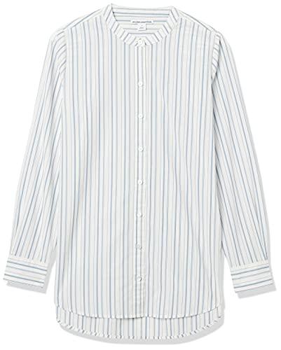 Amazon Essentials Langärmeliges Tunika-Popeline Hemd, Weiß/Blau gestreift, XS