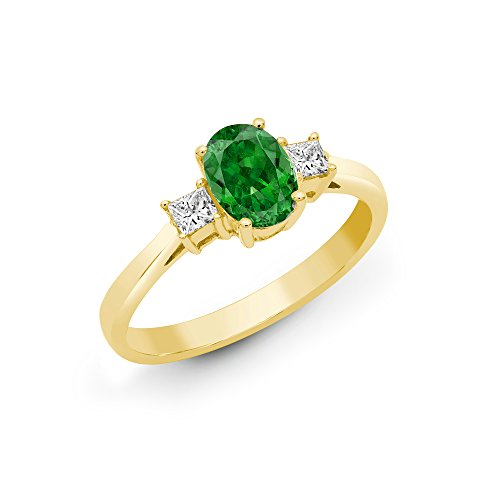Jewelco London 18ct Yellow Gold 4 Claw Princess 0.2ct Diamond and Oval Green 0.85ct Emerald Trilogy Engagement Ring 7mm, Size Z