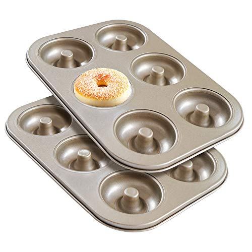 Donut Pan Set of 2, Beasea Nonstick Donut Baking Pans, Carbon Steel Mini Donut Mold, Donut Baking Tray Bagels Mold for 6 Donuts