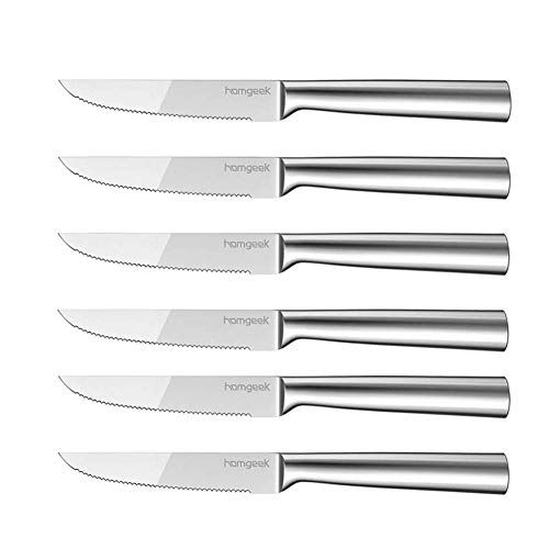 Homgeek Steak Knives,6-Piece German High Carbon Stainless Steel Serrated Steak Knife