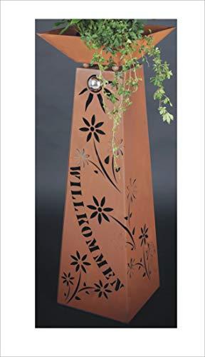 Jabo Design XL Rost Säule + Schale WILLKOMMEN RS77+S11 Blumen Deko Rostsäulen Säulen rostig