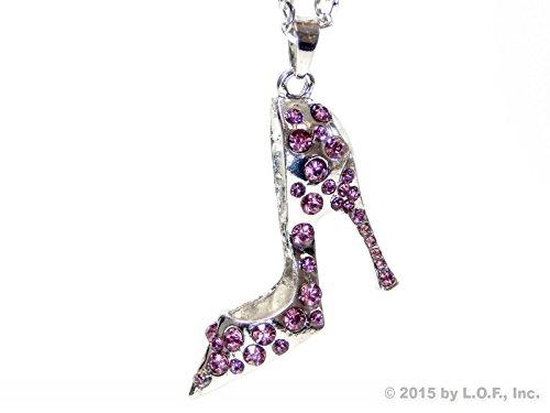 Red Hound Auto Silver Bling High Heel Shoe Mirror Car Charm Hanger Ornament Purple Rhinestones w Chain