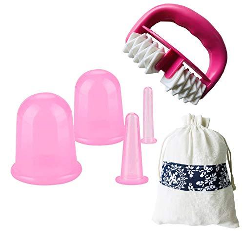IAMXXYO 5Pcs Anti-Cellulite Cup Set Silicone Emboutissage Thérapie Visage Vide Emboutissage Corps Coupe Massage Rouleau pour Drainage Lymphatique Et Soins De Santé,Rose