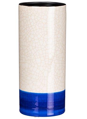 Sullivans Crackle Finish Keramik Weiß und Blau Deko Vase