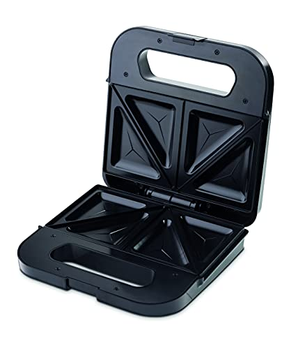 Ufesa SW7870 Delish Sandwichera 900W, Placas Antiadherentes, Sellado Perfecto, 2 Sandwiches, Sin BPA, Inox/Plástico