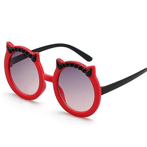 Gafas de sol para Niños Los Niños De Dibujos Animados De La Personalidad Al Aire Libre Y Los Oídos Niñas Gafas De Sol De Las Gafas De Sol Del Diablo para el Niño ( Color : Red , Size : Free size )
