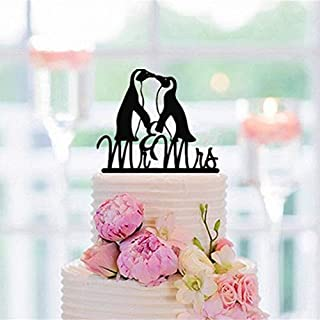 PotteLove Personalised Mr & Mrs Wedding Cake Topper - Penguins Couple Wedding Cake Topper - Mirror Gold Glitter Acrylic Cake Topper for Wedding Anniversary Party Decoration